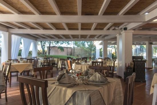 Tables in the covered veranda