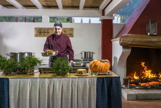 Chef prepares dishes