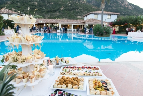 Mixed appetizers by the pool